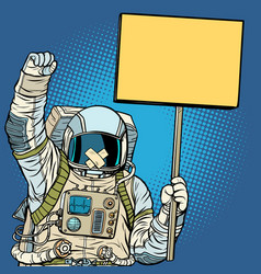 astronaut with gag protesting for freedom vector image