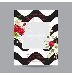 Baby Arrival Card with Photo Frame Vintage Rose vector