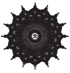 Background round Yoga mandala vector