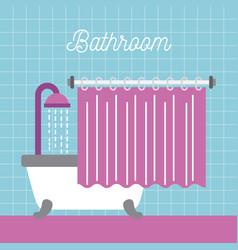 Bathroom shower bathtub with curtain and blue tile vector
