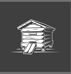 Beehive isolated on black background vector