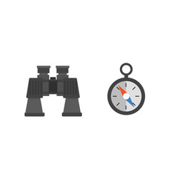 binoculars with lens isolated compass on white vector image