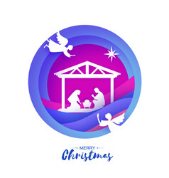 Birth of christ baby jesus in the manger holy vector
