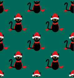Black cat santa hat seamless on green teal vector