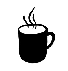 Black silhouette hand drawn with hot coffee mug vector