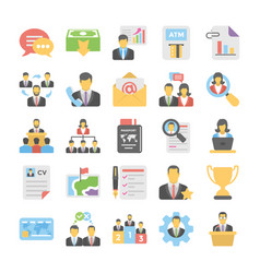 business flat colored icons 3 vector image
