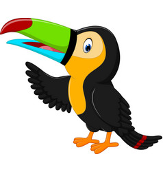 Cartoon happy bird toucan vector