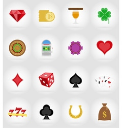 casino flat icons 17 vector image