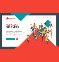 characters different musicians people landing web vector image