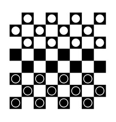 checkers draughts or checker board with pieces vector image