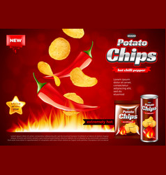 Chips ads hot chili pepper falling into fire vector