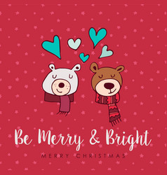 Christmas cute holiday love bears cartoon card vector