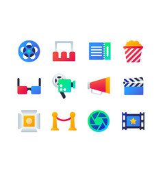 cinema - set of flat design style icons vector image