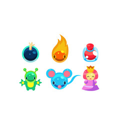 collection of kids game user interface fantasy vector image
