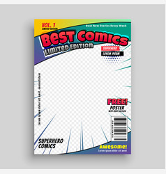 Comic book cover magazine front page design layout vector