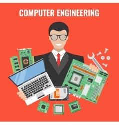Computer engineering flyer vector