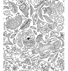 Contour seamless pattern with decorative vector