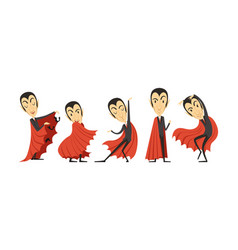 Count dracula cartoon character in different poses vector