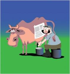 Cow and farmer vector