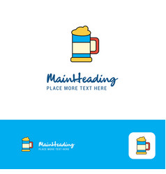 creative beer glass logo design flat color logo vector image