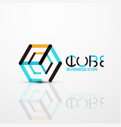 Cube idea concept logo line vector
