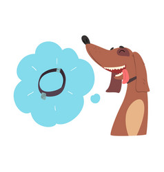 Cute funny dog dreaming about walking cartoon vector