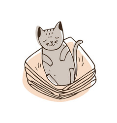 Cute naughty cat lying on pile of clothes and vector