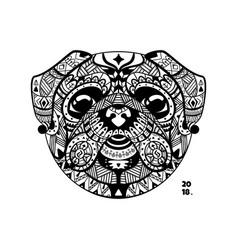 dog pug style entangle vector image