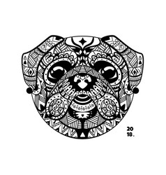 Dog pug style zentangle vector