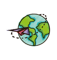 Doodle global earth planet with paper airplane vector