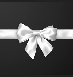 Elegance white satin bow with ribbon isolated on vector