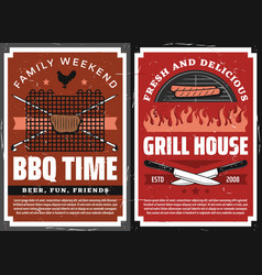 family weekend barbecue grill picnic retro poster vector image