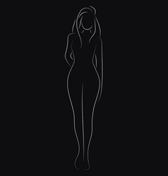 Female figure outline of young girl stylized vector