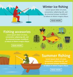 Fishing tools banner horizontal set flat style vector