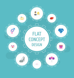 Flat icons love posy couple and other vector