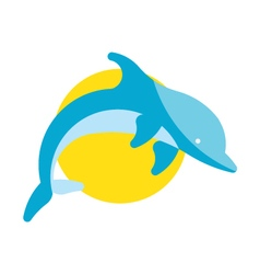 Flat Jumping Dolphin vector