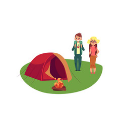 Flat people near camping hiking tent vector