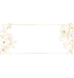 Floral border frame card template golden gradient vector