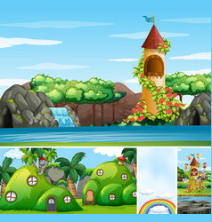 four different scene fantasy world vector image