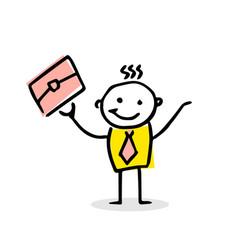 free hand drawing with happy busyness man vector image