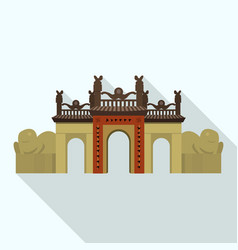 Gate citadel icon flat style vector