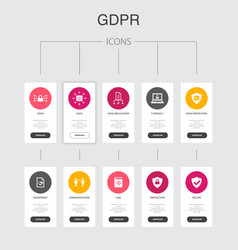 Gdpr nfographic 10 steps ui designdata e-privacy vector