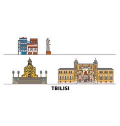 Georgia tbilisi flat landmarks vector