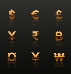 Golden currency icons set vector