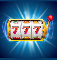 Golden slot machine wins the jackpot isolated on vector