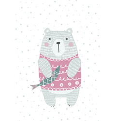 hand drawn funny cute bear with fish vector image