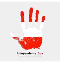Handprint with the flag of austria in grunge style vector
