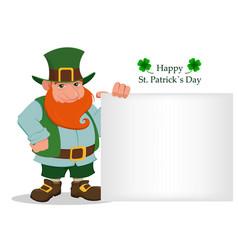 happy saint patricks day cartoon happy leprechaun vector image