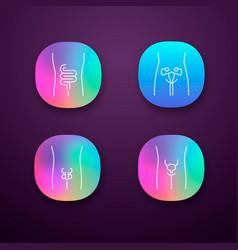 Healthy human organs app icons set intestines vector