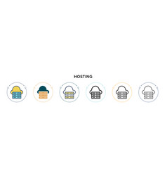 Hosting icon in filled thin line outline and vector